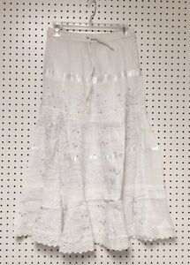 100% Cotton Boho Lace Trim Embroidered Tiered Peasant Sweep Skirt 1X-2X-3X NWT