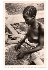 BURKINA FASO, AFRICA, MOSSI WOMAN AT WORK, COIFFURE, REAL PHOTO PC, c. 1930's