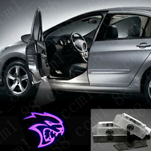 2x Purple Hellcat Logo Car LED Door Laser Projector Lights For Dodge Challenger