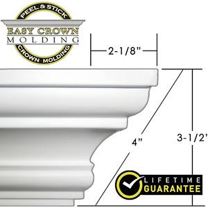 "4"" Peel & Stick Easy Crown Molding 52"" length makes inside cut corners 3M"