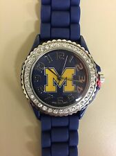 New Women's Watch Michigan Wolverines Rhinestone Jelly Silicone Bling Glitz
