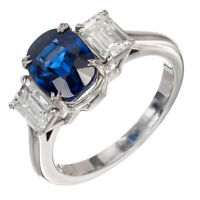 3ct Cushion Blue Sapphire Diamond Trilogy Engagement Ring 14k White Gold Over