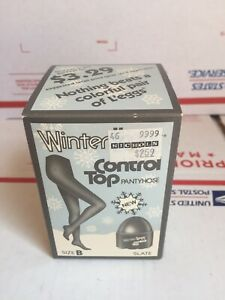 Vintage Winter Leggs Pantyhose Slate Colored Size B Super Old!!