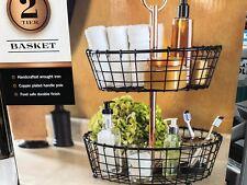 Two-Tier Wire Basket Stand Organizer Kitchen Bathroom Dorm Room Must-have
