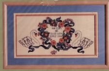 Swans and Floral Hearts Wedding Linen Cross Stitch Kit Vintage Something Special