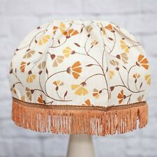 Vintage Tassle Light Shade Ivory Brown Floral Old Frame Shabby Retro Caravan