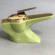 Vintage WINDMILL Table Gas Lighter ANGEL Piezo Electric Home Ornament Green Gold