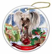 Chinese Crested Hairless Porcelain Ornament Pet Gift 'Santa I Can Explain!
