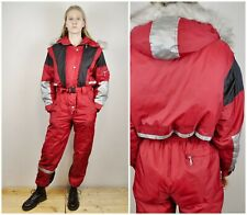 Women S Red Snowsuit Ski Vintage Suit Hooded Sports Coverall Overall VTG RA12e