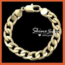 "22cm x 9mm 18k gold gf curb chain bracelet RRP £30 gcb Plum UK 8.5/"" BOXED"