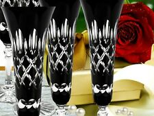 Champagne Glasses Roman Lead 6 Piece (443CAR Sz ) Black Crystal
