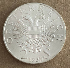 AUSTRIA 1935 2 SHILLING SILVER HIGH GRADE VERY NICE CONDITION LM