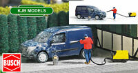 BNIB OO / HO BUSCH 7825 VAN CLEANING SCENE - JET WASHER, FIGURE, VAN BUCKET ETC