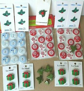 Lot of 66 BUTTONS - Winter, Holiday Theme New!