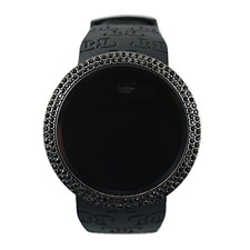 Black Iced Techno Pave Bling Lab Diamond Digital Touch Screen Fashion watch