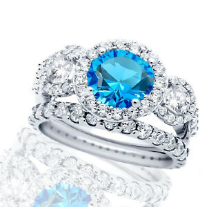Large Brilliant Blue Topaz Halo Silver Wedding Engagement Ring Set
