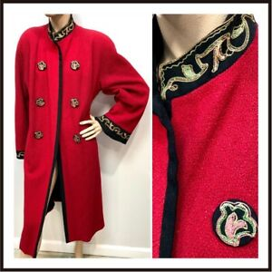 1930s SCARLET RED Duster Coat w/GOLD METAL BULLION & CREWEL EMBROIDERY Sz-LG