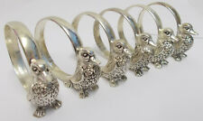 More details for set of 6 silea nickel silver duck napkin rings