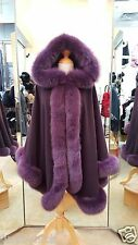 Aubergine Cashmere Hooded Cape With Fox Fur Trim Beautifully Canadian Label