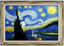 Framed, Van Gogh Starry Night Repro, Hand Painted Oil Painting 24x36in