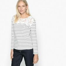 ANNE WEYBURN LADIES STRIPED T-SHIRT WITH LACE INSERT SIZE 10 - 12 NEW (ref 487)