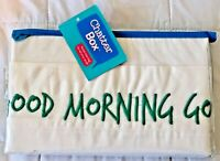 "Standard Pillowcase with Teal Embroidered ""GOOD MORNING GORGEOUS"" NEW!"