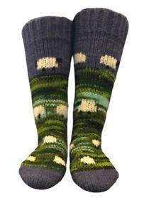 Fair-trade Handmade Hand Knitted Long Wool Sheep Socks Sofa Bed Welly Socks