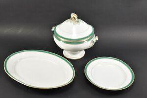 h18a02- 3x Porzellan Speisegeschirr: Terrine, großer Teller u. Servierschale