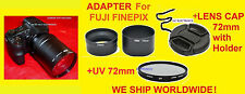 CAMERA LENS ADAPTER TUBE +CAP+UV 72mm FILTER ->FUJI S4250 S4000 S4050 S4200 HD