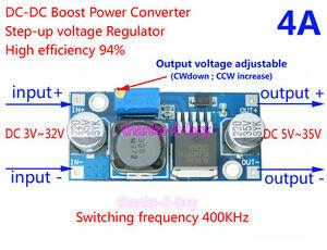 4A DC-DC Boost Adjustable Step Up Voltage Regulated Power Module 5V 9V 12V 24V