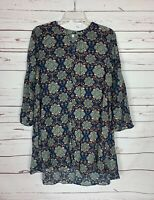 Umgee Boutique Women's M Medium Blue Floral Boho Long Sleeve Cute Spring Dress