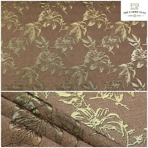 """Metallic Brocade Fabric, Tropical Floral Gold Foil 58""""  Bags Upholstery Clothes"""