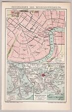 United States, USA - Alte Karte, Stadtplan New Orleans - Lithographie 1904