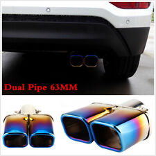 63mm Car Rear Dual Exhaust Pipe Tail Muffler Tip Stainless Steel Blue Colorful