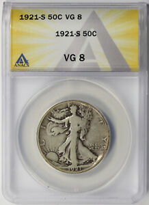 1921-S Walking Liberty Half Dollar Silver 50C VG 8 ANACS