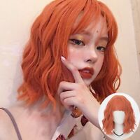 "14"" Short Orange Curly Bangs Hair Anime Cosplay Wig Heat Resistant Wigs"