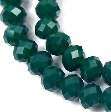 6x4mm Faceted Emerald Green glass Quartz Rondelle Beads (50)