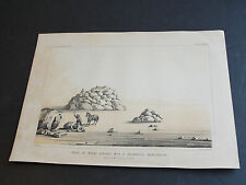 1855 Chromolithograph-Point of Rocks covered with a Calcareous Incrustation.RARE