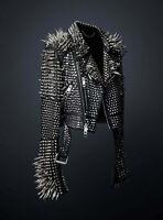 Men Black Punk Full Silver Long Spiked Rivet Studded Brando Biker Leather Jacket