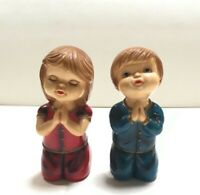 Vintage Plastic Praying Kneeling Children Kids Figurines Boy Girl Hong Kong