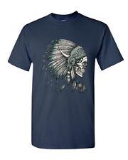 New Skull Headdress T-shirt Indian Skull Shirts Native American (2033)