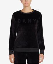 DKNY SOFT VELOUR BLACK PYJAMA / LOUNGE TOP BNWT SIZE L (UK 14-16) RETAIL £61