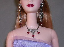 VERA WANG BARBIE FAUX RUBY & DIAMOND NECKLACE & DROP EARRINGS SET FAST SHIPPING!