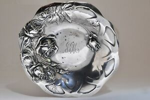 BEAUTIFUL ANTIQUE ART NOUVEAU ROSE FLOWER STERLING SILVER NUT OR CANDY DISH