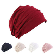 Women Indian Stretchy Head Wrap Hijab Cap Cotton Chemo Pleated Turban Hat