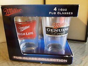 2-Miller Genuine Draft Beer Pub Glasses 2-Miller High Life16 Ounce  MGD NEW!!!
