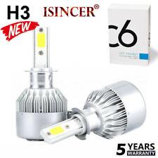 Pair H3 200W 20000LM COB LED Headlight Conversion Kit Bulbs 6000K White Lamp NEW