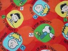 Peanuts S is for Snoopy L is for Linus Flannel Fabric - 1 Yard - Free Shipping