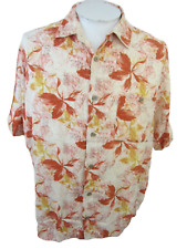 KNIGHTSBRIDGE Men Hawaiian ALOHA shirt pit to pit 26 sz L camp luau floral rayon