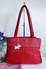 RADLEY Shoulder Tote Bag Medium Red Leather ~ Dog Tag Charm/Dust Bag ~ Ex Con